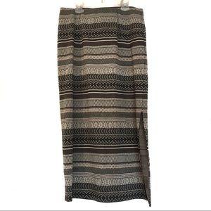 [J.JILL] Elastic waist tribal pattern midi skirt S